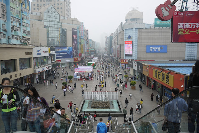Looking down Taidong Pedestrian Street from the top of a pedestrian bridge