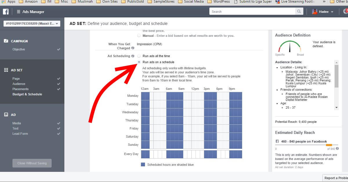 Facebook Ads Ad Set Scheduling