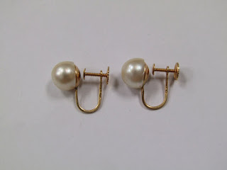 14 K Gold & Pearl Earrings