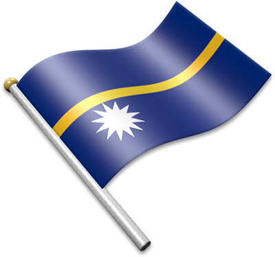 The Nauruan flag on a flagpole clipart image