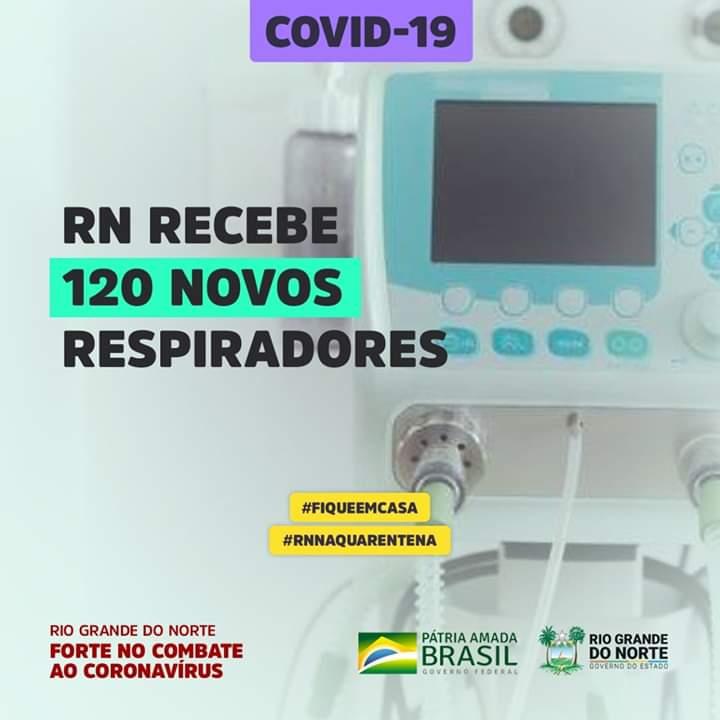 RN recebeu 120 novos respiradores