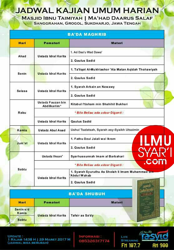 Informasi Jadwal Kajian Sunnah di Sukoharjo