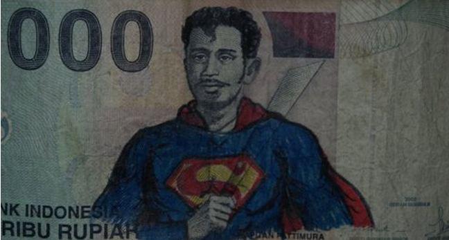 gambar superman pada uang seribu