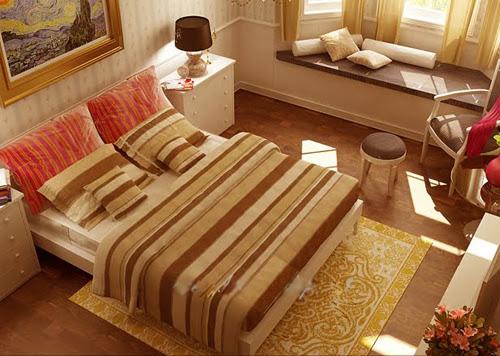 Giường ngủ đẹp gam màu ấm áp