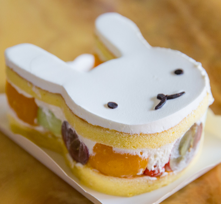 side-view of the bunny cake showing the different layers