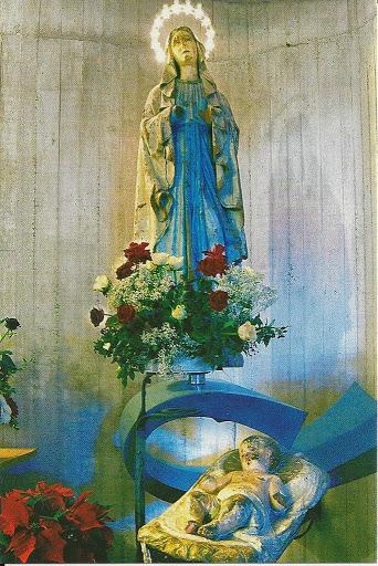 La statua della Madonna Immacolata nell'attuale chiesa parrocchiale di Longarone