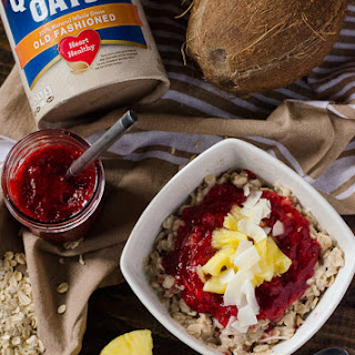 Pineapple Coconut Oatmeal with Strawberry Chia Jam