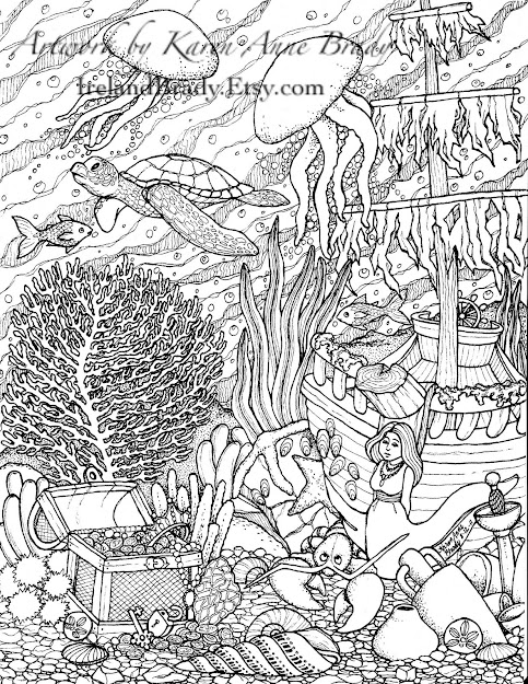 Just Finished The Third Panel In The Undersea Series Of Coloring Pages  This One Is Plete With Jellyfish Sea Turtle Sunken