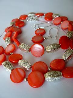 biżuteria z półfabrykatów - landrynkowa masa perłowa (komplet)