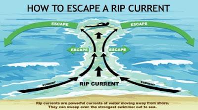 ilustrasi penyelamatan dari arus balik di pantai yang berbahaya