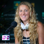 INDIAN WELLS, UNITED STATES - MARCH 17 : Victoria Azarenka talks to the media at the 2016 BNP Paribas Open