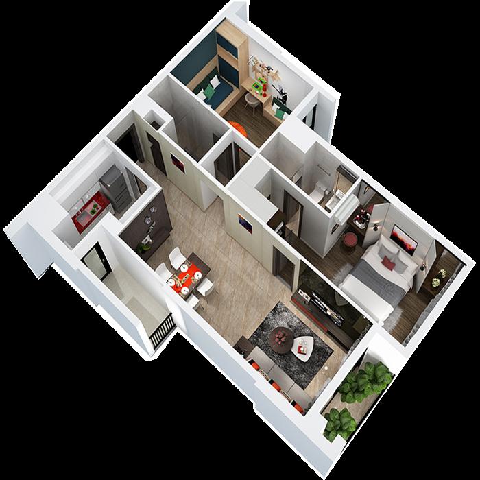căn hộ 79.03m² - 2 Phòng ngủ
