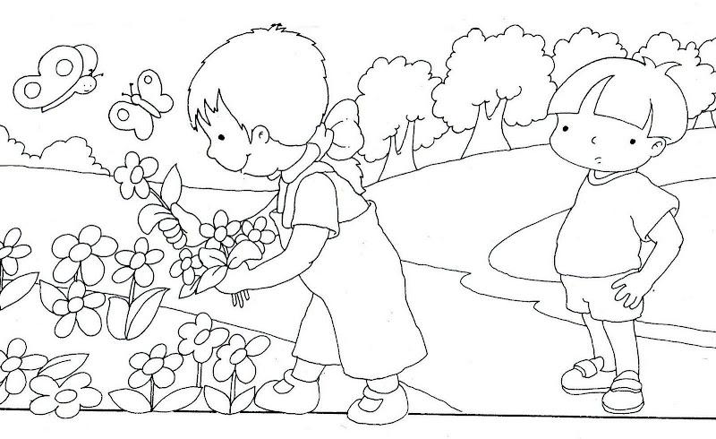 Ninos cuidando la naturaleza para pintar - Imagui