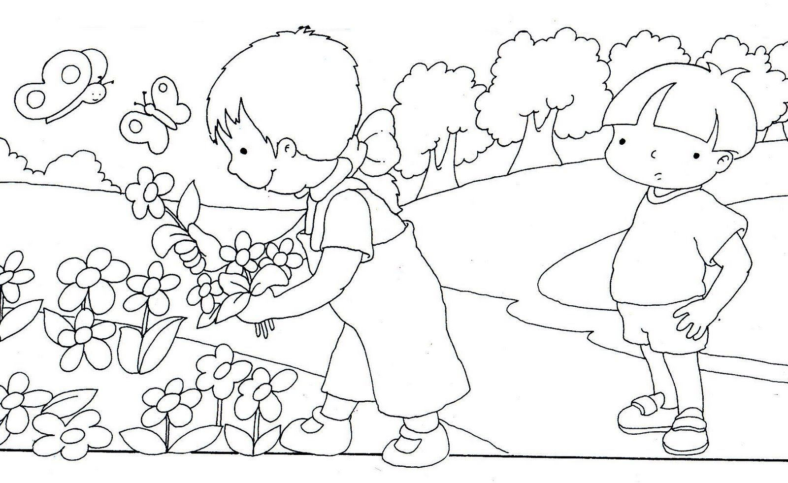 Famoso Naturaleza Para Colorear Imágenes Componente - Dibujos Para ...