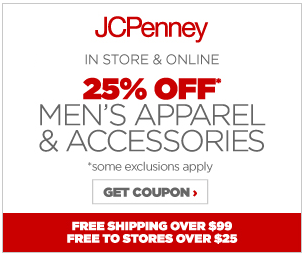JCPenney Coupon - 25% off men's apparel 2014