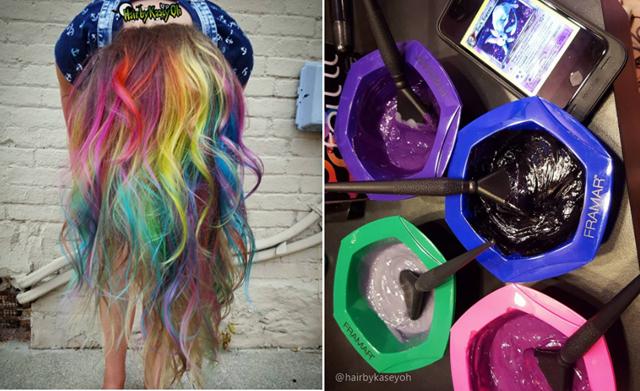 "Cabelos Arco-íris como fazer? - Créditos imagem ""@hairbykaseyoh"""