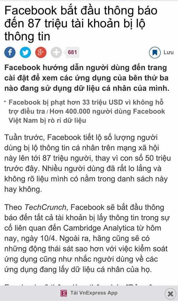 Việt Nam đứng top 9 các nước trên thế giới về số tài khoản bị rò rỉ thông tin từ Facebook