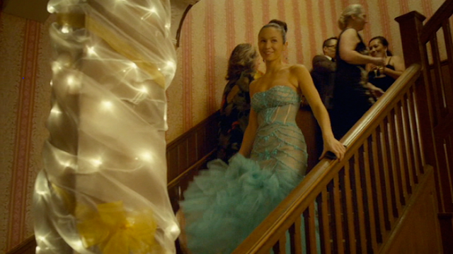 Waverly in a turquise dress