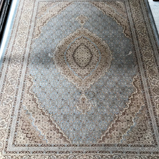 Blue and Cream Area Rug