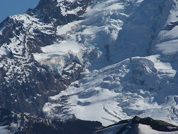 Close up of glaciers on Mt. Baker's north face.