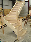 Softwood flight with curtail 1st tread and bullnose 2nd tread