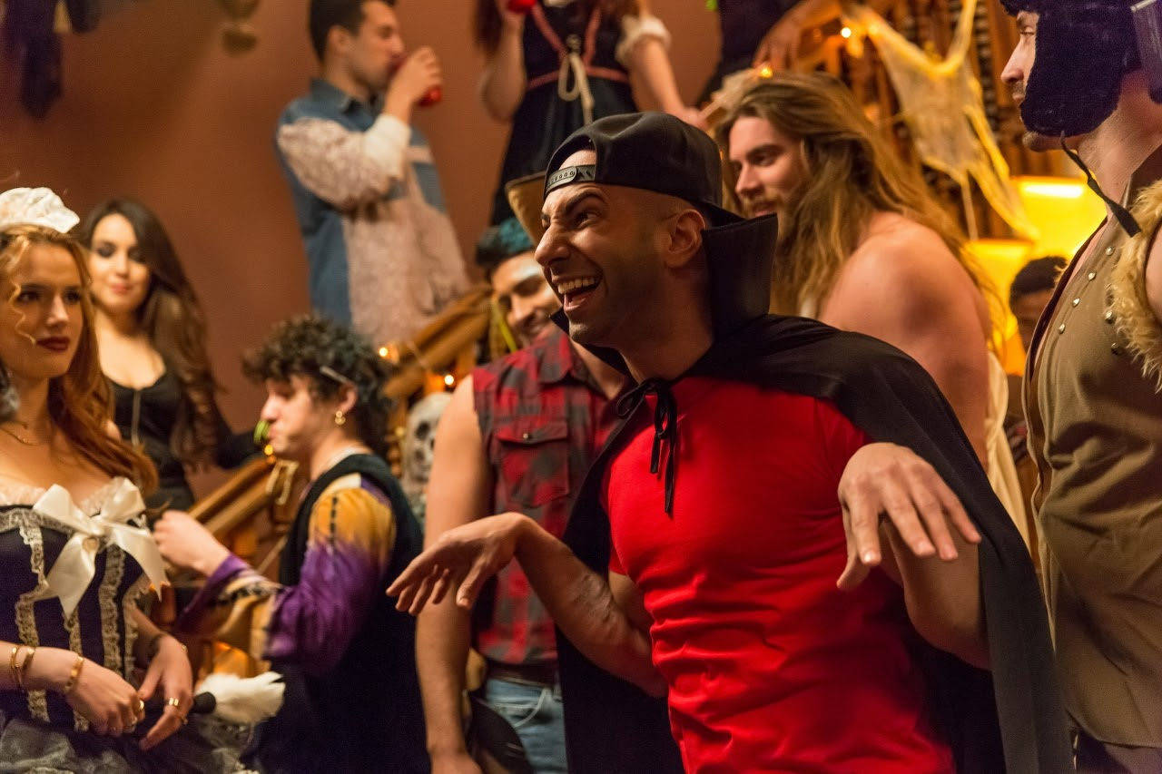 Rain (Bella Thorne, left) and Jonathan (Yousef Erakat, center) in BOO! A MADEA HALLOWEEN. (Photo by Eli Joshua / Lionsgate).