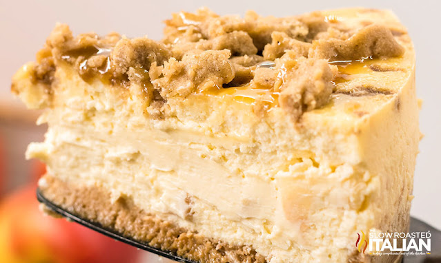 a slice of Caramel Apple Cheesecake
