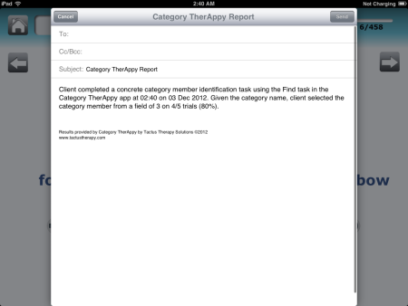 Category TherAppy E-Mail Report