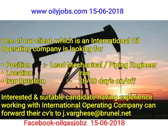 Oil and Gas Jobs: 28/28 Rotational Lead Mechanical/Piping
