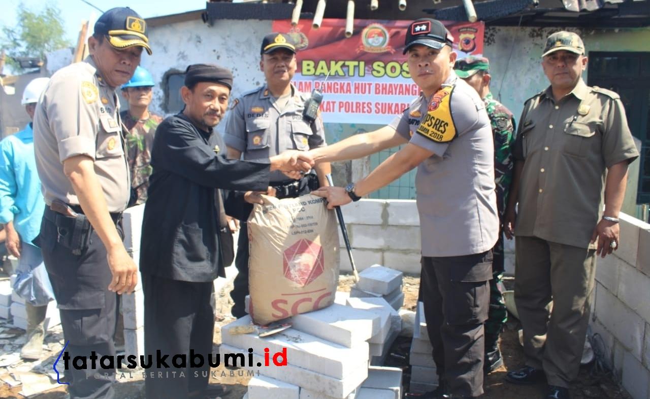 HUT Bhayangkara Polri ke-73 Polresta Sukabumi Bangun 3 Rumah Korban Kebakaran