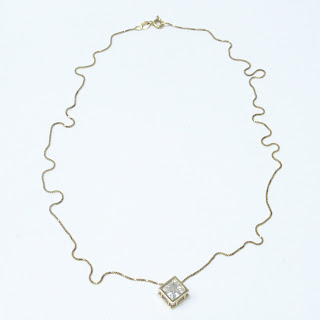 14K Gold & Clear Accent Pendant Chain Necklace
