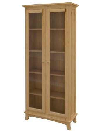 Rochester Glass Door Bookshelf in Ginger Maple