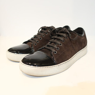 Lanvin Brown Patent and Suede Sneakers