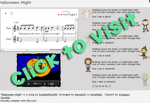 "Visit the ""Halloween Night"" WIX music sheet"