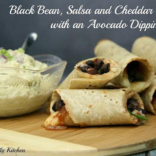 Black Bean, Salsa and Cheddar Taquitos with an Avocado Dipping Sauce.