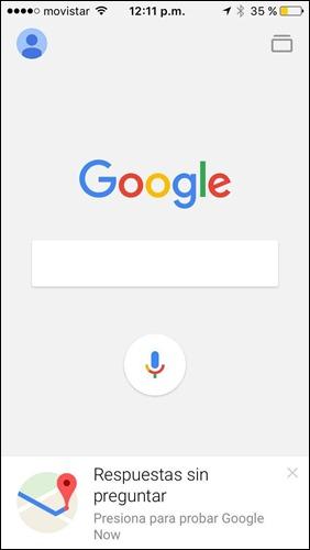 App de Google en funcionamiento desde un iPhone 5S