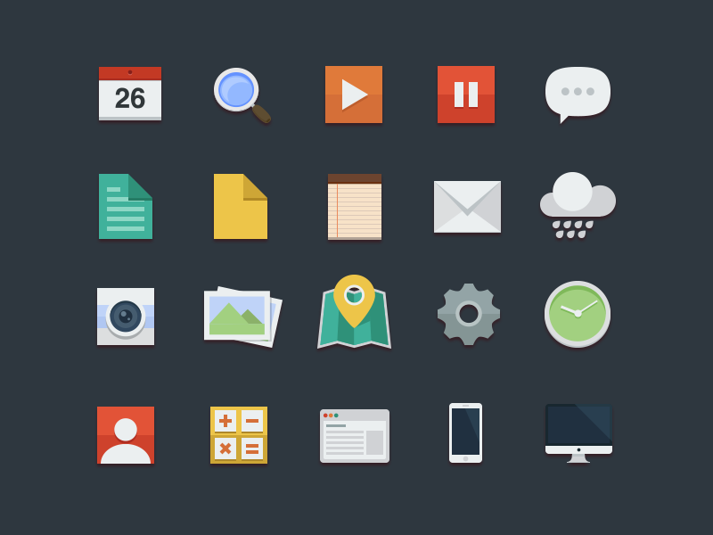Freebie 20 Flat Icons Colorful