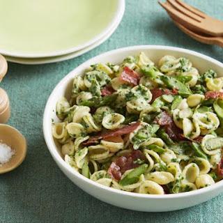 Spinach-Ricotta Pesto Pasta with Crisp Prosciutto and Asparagus.