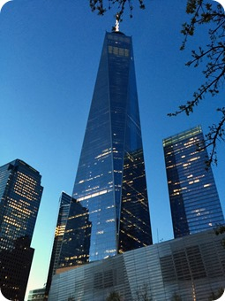 9-11 Memorial at Night with Freedom Tower