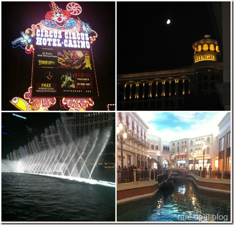 vegas hotels Circus Circus, Bellagio, Venetian Hotel with canal, Bellagio fountain show