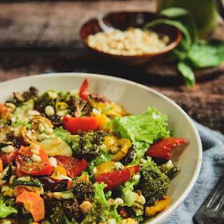 Roasted Vegetable and Peanut Salad with Basil Vinaigrette.