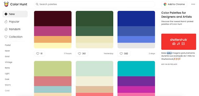 Coleção com curadoria de belas cores, atualizada diariamente