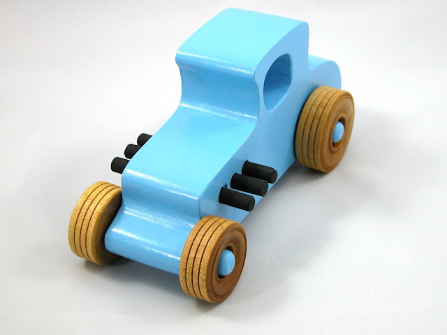 Handmade Wood Toy Car Baby Blue Hot Rod 1927 Ford T-Coupe