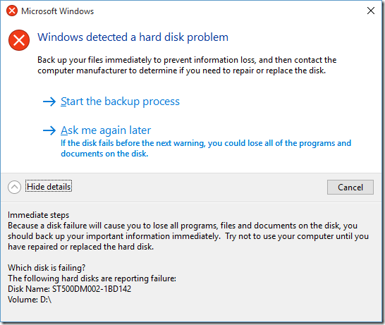 Windows dialog