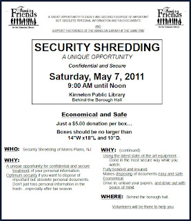 Kinnelon Security Shredding May 7, 2011