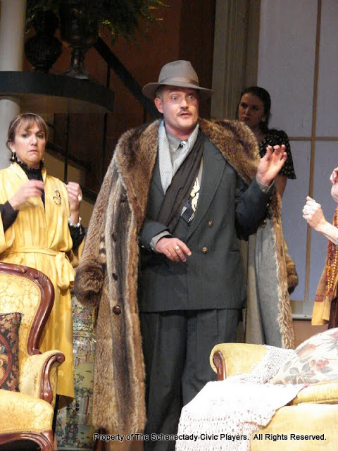 Benita Zahn, Randy McConnach and Stephanie G. Insogna in THE ROYAL FAMILY (R) - December 2011.  Property of The Schenectady Civic Players Theater Archive.