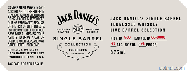 Jack Daniel's Single Barrel Collection Tennessee Whiskey