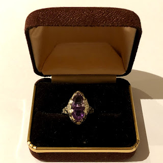 14K White Gold & Amethyst Ring