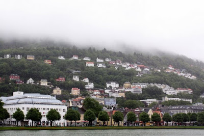 Lake in the fog in Bergen Norway