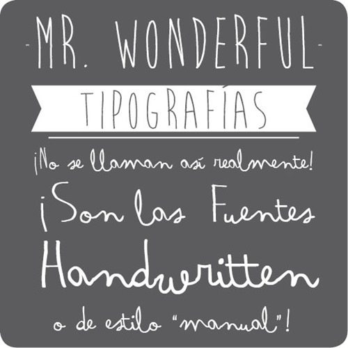 Ejemplo de uso de las tipografías habituales de Mr.Wonderful.